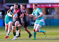 17th April 2021; Twickenham Stoop, London, England; English Premiership Rugby, Harlequins versus Worcester Warriors; Scott Baldwin of Harlequins driving through the Worcester defence