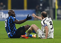 Calcio, Serie A: Inter Milano - Juventus FC , Giuseppe Meazza (San Siro) stadium, in Milan, January 17, 2021.<br /> Inter's Romelu Lukaku (l) and Juventus' captain Giorgio Chiellini (r) are going to shake their hands after falling during the Italian Serie A football match between Inter and juventus at Giuseppe Meazza (San Siro) stadium, January 17,  2021.<br /> UPDATE IMAGES PRESS/Isabella Bonotto