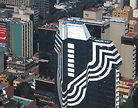 aerial photograph of a modern architecture high rise tower in Mexico City, Mexico