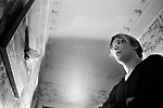 Patrick Hughes artist in his London studio, 43 Idmiston Road, London SE27 1968 UK.<br /> <br /> Fish and Sea of 1968.