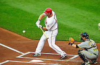 8 June 2010: Washington Nationals' first baseman Adam Dunn at bat against the Pittsburgh Pirates at Nationals Park in Washington, DC. The Nationals defeated the Pirates 5-2 in the series opener where pitching sensation Stephen Strasburg made his Major League debut, striking out 14 batters and notching his first win in the majors. Mandatory Credit: Ed Wolfstein Photo