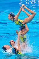 SPAIN<br /> CONESA PRIETO Abril / FERRERAS SANZ Berta<br /> MAS PUJADAS Meritxell / OZHOGINA OZHOGIN Alisa<br /> RAMIREZ IBANEZ Paula / SALDANA LOPEZ Sara<br /> TIO' CASAS Iris / TOLEDANO LAUT Blanca<br /> Team Free Final<br /> Artistic Swimming<br /> Budapest  - Hungary  14/5/2021<br /> Duna Arena<br /> XXXV LEN European Aquatic Championships<br /> Photo Pasquale Mesiano / Deepbluemedia / Insidefoto