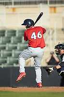 Matt Vierling (46) of the Lakewood BlueClaws at bat against the Kannapolis Intimidators at Kannapolis Intimidators Stadium on July 8, 2018 in Kannapolis, North Carolina.  The BlueClaws defeated the Intimidators 4-3.  (Brian Westerholt/Four Seam Images)