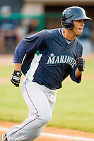 Jose Rivero #58 of the Pulaski Mariners hustles down the first base line against the Bristol White Sox at Boyce Cox Field August 28, 2010, in Bristol, Tennessee.  Photo by Brian Westerholt / Four Seam Images