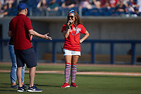 Kannapolis Cannon Ballers Director of Entertainment Blair Jewell is dressed festively for the game against the Charleston RiverDogs at Atrium Health Ballpark on July 4, 2021 in Kannapolis, North Carolina. (Brian Westerholt/Four Seam Images)
