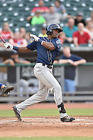 Mobile BayBears right fielder Socrates Brito (19) swings at a pitch during a game against the Tennessee Smokies on May 27, 2015 in Kodak, Tennessee. The Smokies defeated the BayBears 3-2. (Tony Farlow/Four Seam Images)
