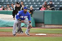 Brandon Allen (40) of the Las Vegas 51s on defense against the Salt Lake Bees at Smith's Ballpark on May 8, 2014 in Salt Lake City, Utah.  (Stephen Smith/Four Seam Images)