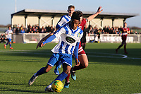 Jonathan Nzengo of Aveley and Chris Whelpdale of Chelmsford City during Aveley vs Chelmsford City, Buildbase FA Trophy Football at Parkside on 8th February 2020
