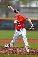 Illinois Fighting Illini pitcher Josh Ferry #32 delivers a pitch during a game against the Notre Dame Fighting Irish at the Big Ten/Big East Challenge at Walter Fuller Complex on February 17, 2012 in St. Petersburg, Florida.  (Mike Janes/Four Seam Images)