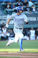 Dempsey Grover (20) of the UC Santa Barbara Gauchos runs to first base during a game against the Cal State Long Beach Dirtbags at Blair Field on April 1, 2016 in Long Beach, California. UC Santa Barbara defeated Cal State Long Beach, 4-3. (Larry Goren/Four Seam Images)
