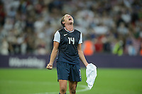 London, England - Thursday, August 9, 2012: The USA defeated Japan 2-1 to win the London 2012 Olympic gold medal at Wembley Arena. Abby Wambach celebrates after the USA victory. .