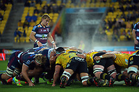 A scrum sets during the Super Rugby Tran-Tasman match between the Hurricanes and Reds at Sky Stadium in Wellington, New Zealand on Friday, 11 June 2020. Photo: Dave Lintott / lintottphoto.co.nz