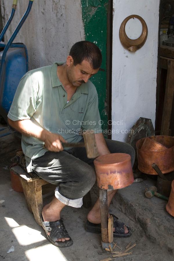 Tripoli, Libya - Copper Smith Shaping Pot, Copper Suq, Tripoli Medina