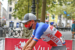 Masked French Champion Warren Barguil (FRA) Team Arkea-Samsic makes his way to sign on before Stage 2 of the Route d'Occitanie 2020, running 174.5km from Carcassone to Cap Découverte, France. 2nd August 2020. <br /> Picture: Colin Flockton | Cyclefile<br /> <br /> All photos usage must carry mandatory copyright credit (© Cyclefile | Colin Flockton)