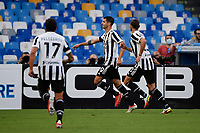 Alvaro Morata of Juventus FC celebrates after scoring the goal of 0-1 during the Serie A football match between SSC Napoli and Juventus FC at Diego Armando Maradona stadium in Napoli (Italy), September 11th, 2021. Photo Andrea Staccioli / Insidefoto