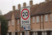 20 mph speed limit signs in Pagnell Street, Lewisham, London.