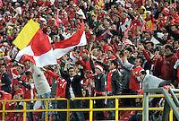 """BOGOTA, COLOMBIA -09-02-2013: Hinchas del Independiente Santa fe animan a su equipo durante  partido por la Liga de Postobon I en el estadio Nemesio Camacho """"El Campín"""" en la ciudad de Bogotá, febrero 9, 2013. (Foto: VizzorImage / Luis Ramírez / Staff). Fans of Independiente Santa Fe, cheer their team during a match for the Postobon I League at the Nemesio Camacho  ?El Campin? stadium in Bogota city, on February 9, 2013, (Photo: VizzorImage / Luis Ramírez / Staff)"""