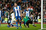 Espanyol´s Enzo Roco regrets scoring an own goal during 2015/16 La Liga match between Real Madrid and Espanyol at Santiago Bernabeu stadium in Madrid, Spain. January 31, 2016. (ALTERPHOTOS/Victor Blanco)