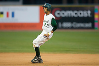 Joaquin Rodriguez (22) of the Savannah Sand Gnats take his lead off of second base at Grayson Stadium in Savannah, GA, Wednesday August 6, 2008  (Photo by Brian Westerholt / Four Seam Images)