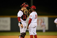 Greeneville Reds relief pitcher Perez Knowles (26) talks with catcher Robert Boselli (47) on the mound during a game against the Pulaski Yankees on July 27, 2018 at Pioneer Park in Tusculum, Tennessee.  Greeneville defeated Pulaski 3-2.  (Mike Janes/Four Seam Images)