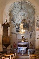 Europe/France/Midi-Pyrénées/46/Lot/Lunegarde: l'église Saint-Julien-de-Brioude- le choeur et l'ensemble de  peintures murales, peintures à la détrempe du XVI ème siècle
