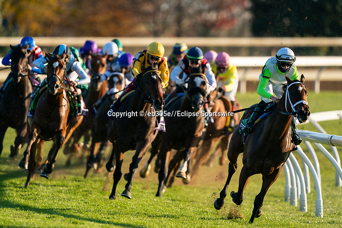 November 6, 2020: Aunt Pearl, ridden by Florent Geroux, wins the Juvenile Fillies Turf on Breeders' Cup Championship Friday at Keeneland on November 6, 2020: in Lexington, Kentucky. /Dan Heary/Breeders' Cup/Eclipse Sportswire/CSM