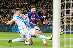 Lionel Messi of FC Barcelona (R) attempts a kick while being defended by  Fabian Lukas Schar of RC Deportivo La Coruna (L) during the La Liga 2017-18 match between FC Barcelona and Deportivo La Coruna at Camp Nou Stadium on 17 December 2017 in Barcelona, Spain. Photo by Vicens Gimenez / Power Sport Images