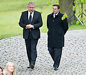Graham Wallace and Sandy Easdale arrive at Mortonhall Crematorium for the funeral service of Sandy Jardine.