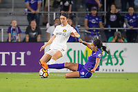 Orlando, FL - Saturday March 24, 2018: Utah Royals defender Sydney Miramontez (17) is challenged by Orlando Pride forward Sydney Leroux (2) battle for a ball during a regular season National Women's Soccer League (NWSL) match between the Orlando Pride and the Utah Royals FC at Orlando City Stadium. The game ended in a 1-1 draw.