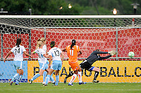 Rosana (11) of Sky Blue FC beats Chicago Red Stars goalkeeper Caroline Jonsson (1) to score during the first half against the Chicago Red Stars during a Women's Professional Soccer match at Yurcak Field in Piscataway, NJ, on June 17, 2009.