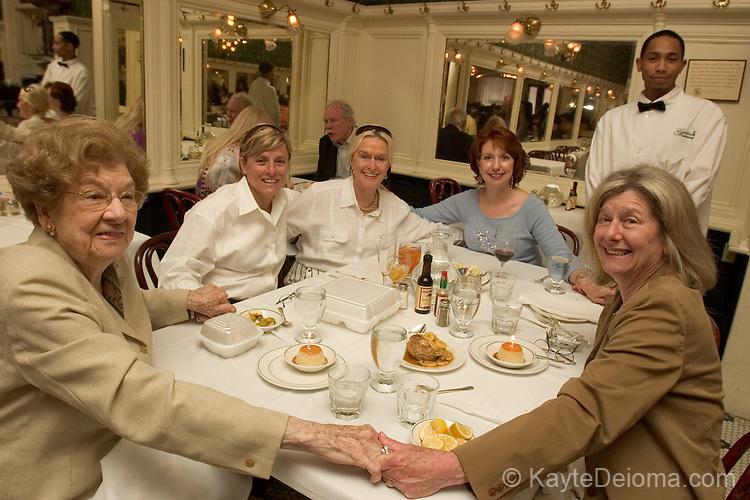 Jo Bilbo, Martha Ford, Loretta Ford, Judy Beth Groom, and Diana Bilbo from Picayune, Mississippi celebrate both Bilbo ladies' birthdays at Galatoire's in New Orleans, LA