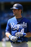 May 24th 2009:  Third baseman Alex Gordan (4) of the Kansas City Royals during a game at the Rogers Centre in Toronto, Ontario, Canada .  Photo by:  Mike Janes/Four Seam Images