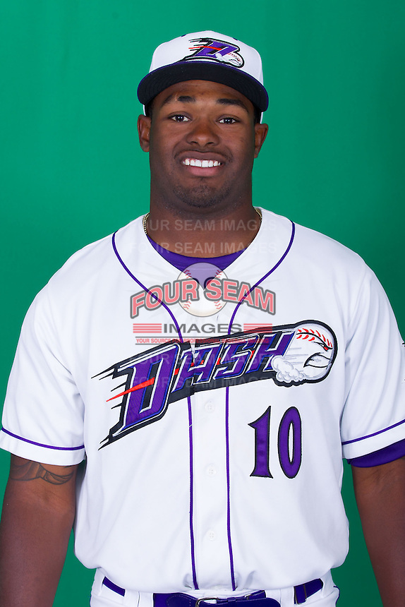 Winston-Salem Dash outfielder Courtney Hawkins (10) poses for photos during Media Day at BB&T Ballpark on April 1, 2014 in Winston-Salem, North Carolina (Brian Westerholt/Four Seam Images)