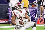 Arkansas Razorbacks offensive lineman Johnny Gibson (62) in action during the Advocare V100 Texas Bowl game between the Arkansas Razorbacks and the Texas Longhorns at the NRG Stadium in Houston, Texas. Arkansas defeats Texas 31 to 7.