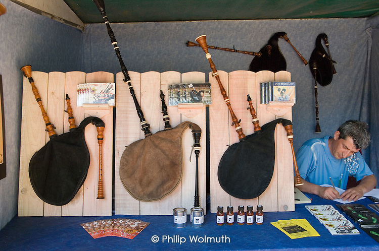 A maker of cornemuses (bagpipes) at the 31st International Festival of Luthiers and Maitres Sonneurs, in Saint Chartier, France.