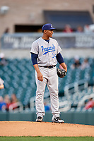 Pensacola Blue Wahoos starting pitcher Keury Mella (34) looks in for the sign during a game against the Birmingham Barons on May 8, 2018 at Regions Field in Birmingham, Alabama.  Birmingham defeated Pensacola 5-2.  (Mike Janes/Four Seam Images)