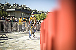 Primoz Roglic (SLO) Jumbo-Visma arrives at sign on before the start of Stage 16 of La Vuelta d'Espana 2021, running 180km from Laredo to Santa Cruz de Bezana, Spain. 31st August 2021.     <br /> Picture: Charly Lopez/Unipublic   Cyclefile<br /> <br /> All photos usage must carry mandatory copyright credit (© Cyclefile   Unipublic/Charly Lopez)