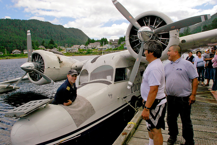 British Columbia, North Coast, Klemtu: Great Bear Rainforest, Pacific Coastal Airlines, classic Grumman Goose seaplane, Regretfully the pilot and his ship went down a year after this photograph was taken. He had told me he came here to fly this rare World War 2 amphibian rather than newer airplanes,