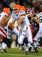 17 November 2008:  Cleveland Browns' quarterback Brady Quinn sets to hand off in the third quarter against the Buffalo Bills at Ralph Wilson Stadium in Orchard Park, NY. The Browns defeated the Bills 29-27 in the Monday Night AFC matchup. *** Editorial Sales Only ****..Mandatory Photo Credit: Ed Wolfstein Photo