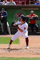 Wisconsin Timber Rattlers outfielder Sal Frelick (17) squares to bunt during a game against the Cedar Rapids Kernels on September 8, 2021 at Neuroscience Group Field at Fox Cities Stadium in Grand Chute, Wisconsin.  (Brad Krause/Four Seam Images)
