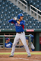 AZL Rangers third baseman Obie Ricumstrict (66) at bat against the AZL Indians on August 26, 2017 at Goodyear Ball Park in Goodyear, Arizona. AZL Indians defeated the AZL Rangers 5-3. (Zachary Lucy/Four Seam Images)