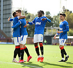 27.09.2020 Motherwell v Rangers:  Cedric Itten takes the acclaim of James Tavernier and Calvin Bassey