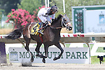August 2, 2015.  Got Lucky, Paco Lopez up, wins the Lady's Secret Stakes, one mile 70 yards for fillies and mares three and upwards at Monmouth Park in Oceanport, NJ. Trianer is Todd Pletcher.  Joan Fairman Kanes/ESW/CSM