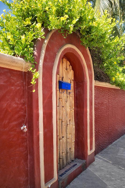 Colorful door at residence in Punta Mita, Mexico.