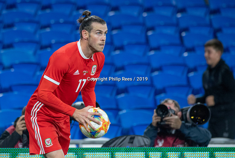 Cardiff - UK - 9th September :<br />Wales v Belarus Friendly match at Cardiff City Stadium.<br />Gareth Bale of Wales is photographed as he prepares to take a throw in during the second half.<br />Editorial use only