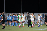 HERRIMAN, UT - JULY 12: Utah Royals FC players react with Rory Dames Head Coach of Chicago Red Stars during a game between Utah Royals FC and Chicago Red Stars at Zions Bank Stadium on July 12, 2020 in Herriman, Utah.