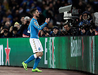Napoli's Dries Mertens celebrates after scoring during the round of 16 second leg soccer match Champions League between Napoli and Real Madrid at the San Paolo stadium, 7 March 2017. Real Madrid won 3-1 to reach the quarter-finals.<br /> UPDATE IMAGES PRESS/Isabella Bonotto