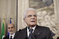 Italys President Sergio Mattarella addresses journalists after three days of consultations with representatives of Italys main parties at the Quirinale Palace, on December 10, 2016.<br /> UPDATE IMAGES PRESS/IsabellaBonotto