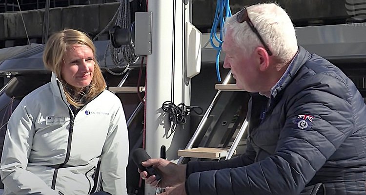 Journalist Matt Sheehan (right) and Key Yachting's Hannah Le Provest at Southampton's recent South Coast Boat Show. See video below