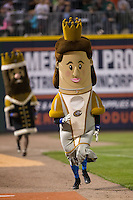 """""""Queen Charlotte"""" of the Charlotte Knights Royalty Racers has a huge lead on """"King Meck"""" between innings of the International League game between the Scranton\Wilkes-Barre RailRiders and the Charlotte Knights at BB&T BallPark on May 1, 2015 in Charlotte, North Carolina.  The RailRiders defeated the Knights 5-4.  (Brian Westerholt/Four Seam Images)"""